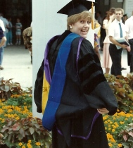 Dr. Kim after receiving her doctoral hood from LSU in 1990.