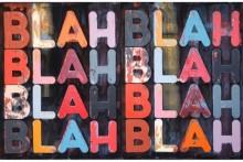 Mel Bochner, Blah Blah Blah, 2009. Oil on velvet in two parts, 125.7 x 190.5 x 4 cm. Courtesy Galerie Neslson-Freeman, Paris.